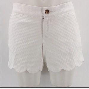 Lilly Pulitzer scalloped Callahan white shorts 0